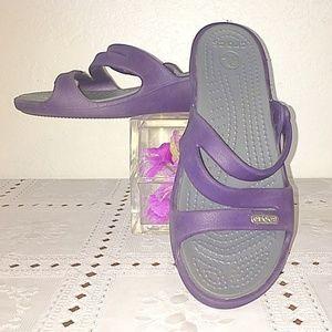 Purple Gray Crocs W4